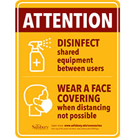 Disinfect and Wear Face Covering Safety Signage Thumbnail